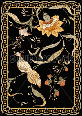 Affisch Poster, background with flowers and bird in art nouveau style, vintage, old, retro style. Stock vector illustration. On black background.