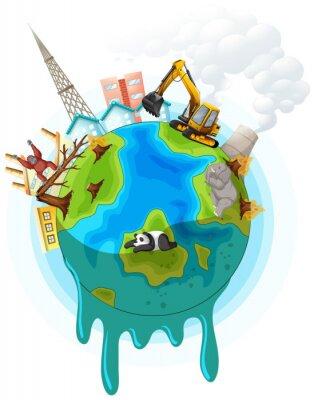 Affisch Poster design with global warming problem