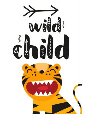 Affisch Poster for nursery scandi design with cute roar tiger and text Wild child in Scandinavian style. Vector Illustration. Kids illustration for baby clothes, greeting card, wrapper.