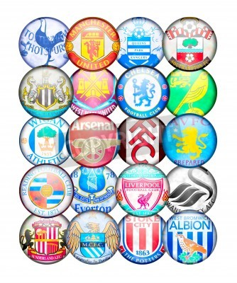 Affisch Premier League lag 2012/13: Färger och märken av engelska fotbollsklubbar