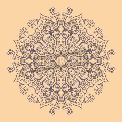 Affisch Prydnads runda blom hålmönster. kaleidoscopic blommönster, mandala.