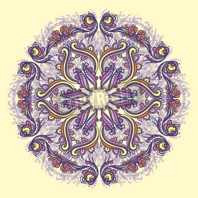 Affisch Prydnads runda blom hålmönster kaleidoscopic blommönster, mandala