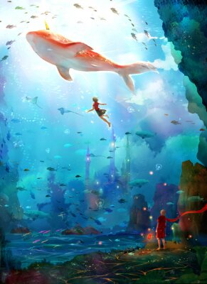 Affisch Pure, literary, small and fresh, illustrations, beautiful women, girls, girls, fairy tales, dreams, fantasies, dreams, cities, castles, seabed, whales, deep sea, girls, schools of fish, oceans,