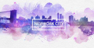 Affisch Purple New York City Dreams vykort Målning