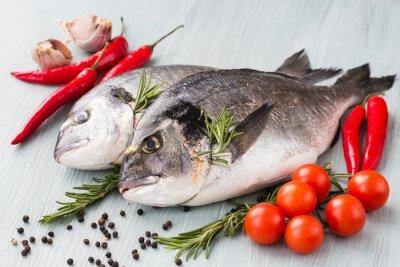 Affisch Rå färsk dorado fisk med grönsaker och kryddor. Hälsosam mat