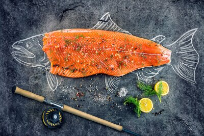 Affisch rå lax fisk biff med ingredienser som citron, peppar, havssalt och dill på svarta tavlan, skissade bild med krita lax fisk med biff och fiskespö