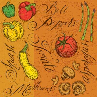 Affisch Råa grönsaker med kalligrafi