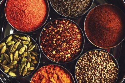 Affisch Rack med traditionella indiska kryddor för matlagning - kardemumma, gurkmeja, kummin, koriander, kanel och chili