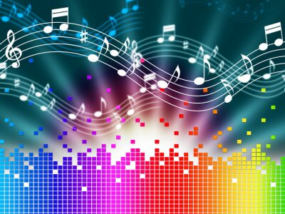 Affisch Rainbow bakgrundsmusik Medel Melody sång och Soundwaves.