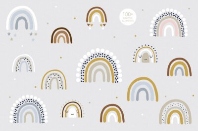 Affisch Rainbow pattern kids decor white background logo design background fashion wedding invitation christmas card retro christmas winter poster font wedding abstract christmas logo flyer brochure
