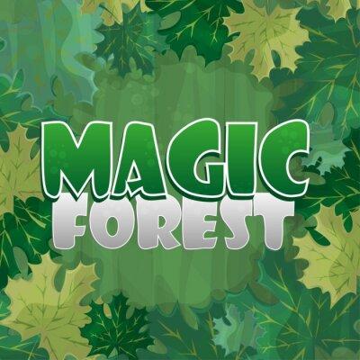 Affisch Ram för textdekoration. Förtrollad skog med grön lönnlöv - tecknad