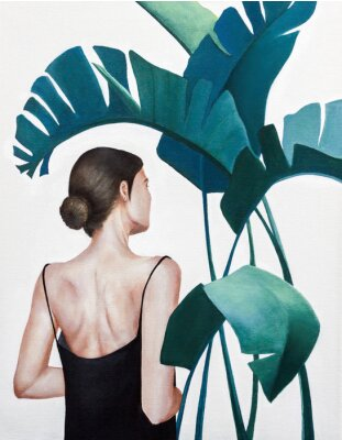 Affisch realistic acrylic painting of woman with green plants
