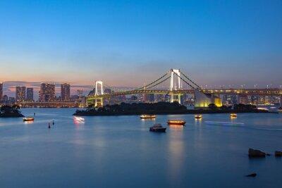 Affisch regnbågen överbryggar Odaiba Tokyo viktig destination att besöka