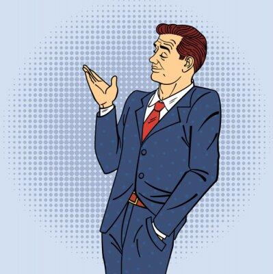 Affisch Reklam Man i popkonststil pekande hand om din produkt