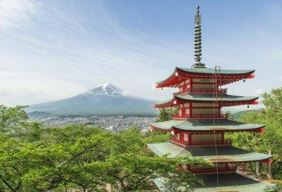 Affisch Resmål - Mt. Fuji med röd pagod i Spring, Fujiyos