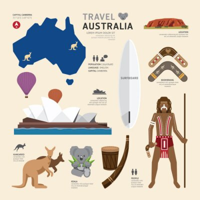 Affisch Resor Concept Australien Landmärke Flat Ikoner Design .Vector Illu