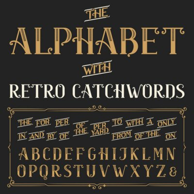Affisch Retro alfabetet vektor typsnitt med ledord. Utsmyckade bokstäver och ledord det, för en, från, med, genom etc. lager vektor typografi för etiketter, rubriker, affischer etc.