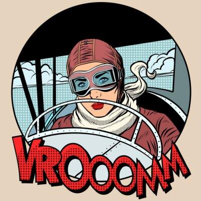 Affisch Retro Aviator kvinna på planet