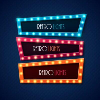 Affisch Retro baner med lysande lampor. Vektor illustration.