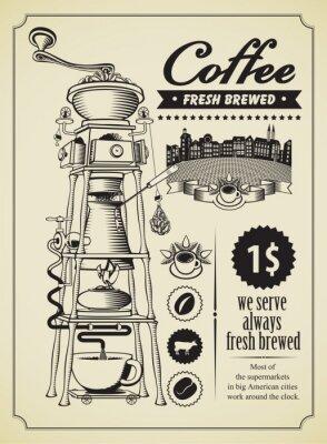 Affisch Retro baner med surrealistiska kaffekvarn