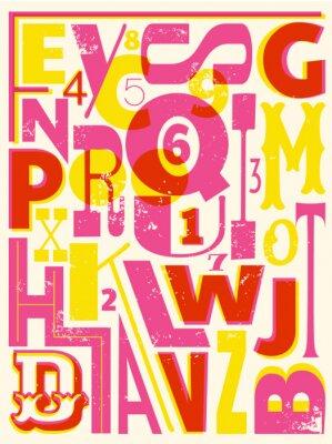 Affisch Retro bokstäver och siffror
