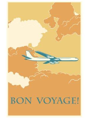 Affisch Retro flygplan Bon voyage