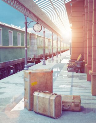 Affisch retro järnvägsstation
