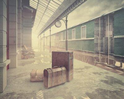 Affisch retro järnvägsstationen