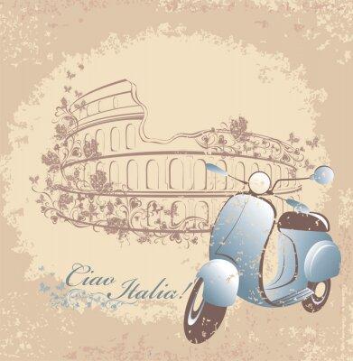 Affisch Retro kort resa till Italien. Vintage skoter och Colosseum i Rom