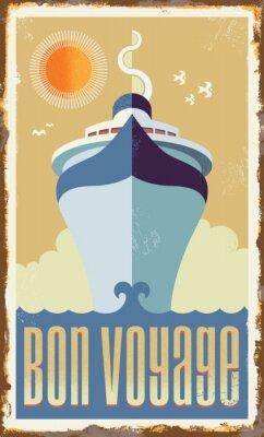 Affisch Retro kryssningsfartyg vektordesign - metall undertecknar affischen