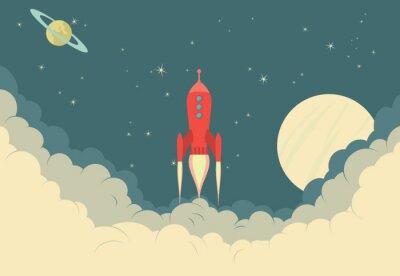 Affisch Retro raket rymdskepp