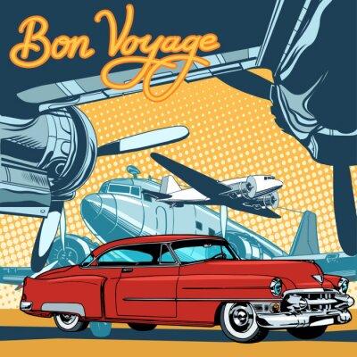 Affisch Retro röd bil på banan popkonst retrostil