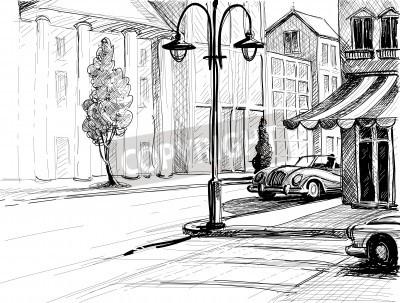 Affisch Retro stad skiss, gata, byggnader och gamla bilar vektor illustration, rita på papper stil