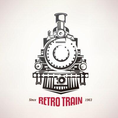 Affisch retro tåg, vintage vektor symbol, emblem, etikettmall
