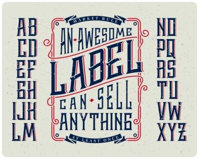 Affisch Retro teckenuppsättning med prydnad ram för att göra etikettdesign