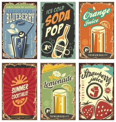 Affisch Retro väggdekor med juicer och drycker set