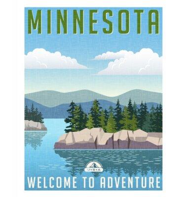 Affisch Retrostil reser affischen eller klistermärken. USA, Minnesota vacker sjö