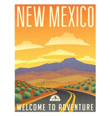 Affisch Retrostil reser affischen eller klistermärken. USA, New Mexico ökenbergslandskap.