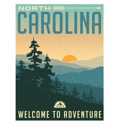 Affisch Retrostil reser affischen eller klistermärken. USA, North Carolina, Great Smoky Mountains