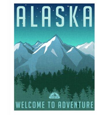 Affisch Retrostil reser affischserie. USA, Alaska bergslandskap.