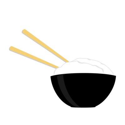 Affisch Ris skål med två pinnar