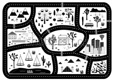 Affisch Road, Mountains and Woods Adventure Map. Kids play carpet or poster with native americans tribal elements. Trendy black and white Scandinavian Style. Vector illustration
