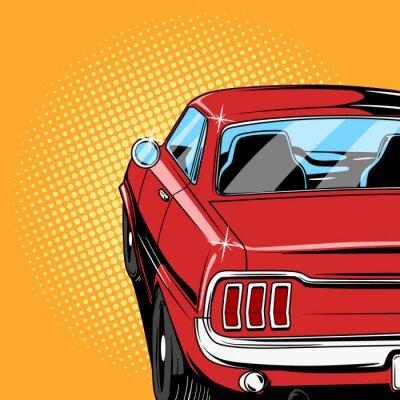 Affisch Röd bil serietidning stil vektor