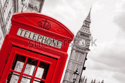 Affisch Röd telefonlåda och Big Ben. London, England