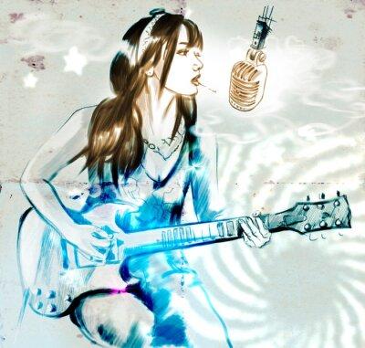 Affisch Rökning. Gitarrspelare. En handritad fullstor illustration.