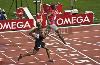 Affisch ROM. 31 maj: Usain Bolt kör och vinner 100 m hastighet lopp på Golden Gala i Olympiastadion den 31 maj 2012 i Rom