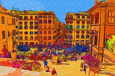 Affisch Rom Italien art illustration