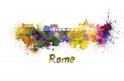 Affisch Rom skyline i vattenfärg
