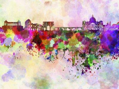 Affisch Rom skyline i vattenfärg bakgrund