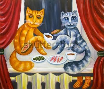 Affisch Romantisk katt middag. En katt och en damkatt äter tillsammans på fönsterbrädan. Husdjur i lägenheten. Oljemålning. Handgjorda konstverk.